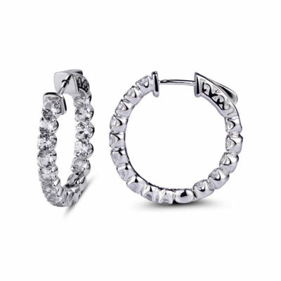 White Topaz Sterling Silver 24mm Hoop Earrings