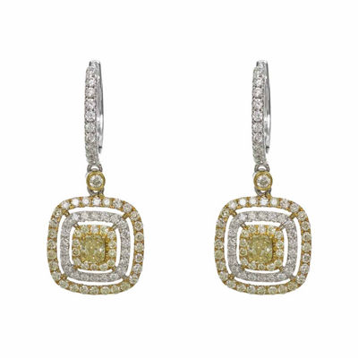 1 1/2 CT. T.W. Genuine Yellow Diamond 18K Gold Drop Earrings