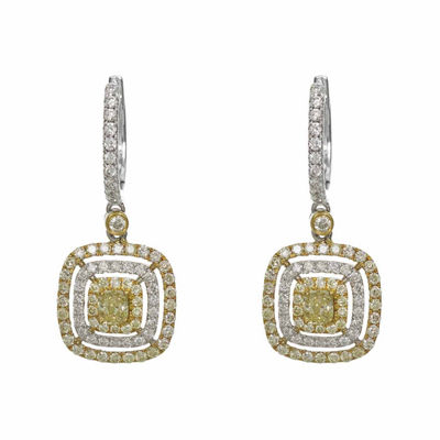 1 1/5 CT. T.W. Genuine Yellow Diamond 18K Gold Drop Earrings