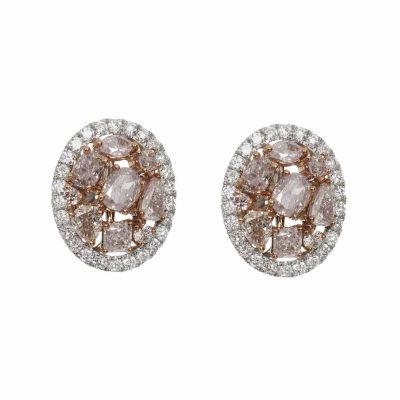 2 1/3 CT. T.W. Genuine Pink Diamond 18K Gold Stud Earrings