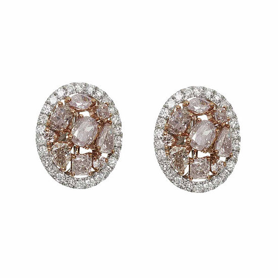 2 1/3 CT. T.W. Genuine Pink Diamond 18K Gold Stud Earrings