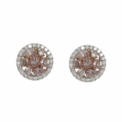 1 1/2 CT. T.W. Pink Diamond 18K Gold Stud Earrings