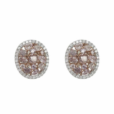 2 1/5 Ct. T.W. Genuine Pink Diamond 18K Gold Stud Earrings