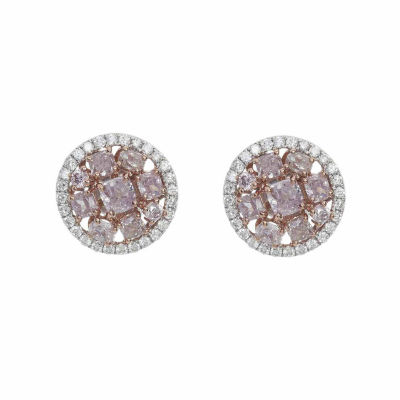 2 1/5 Ct. T.W. Genuine Pink Diamond 18K Gold Stud Earrings