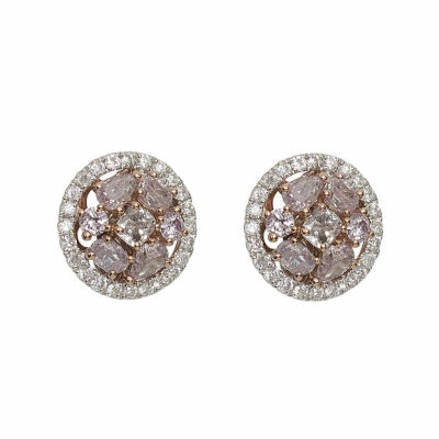 7/8 CT. T.W. Genuine Pink Diamond 18K Gold Stud Earrings