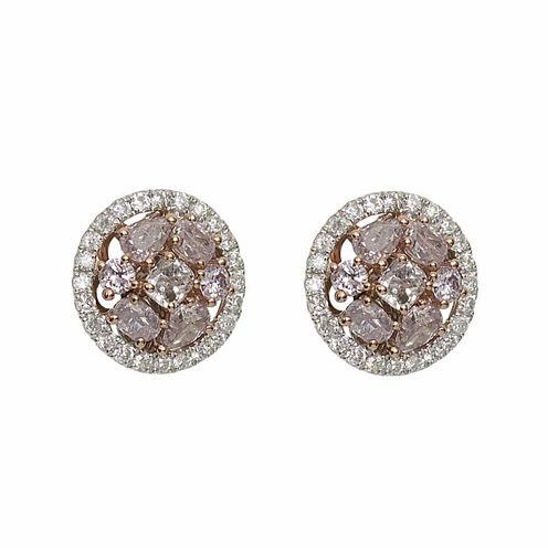 7/8 CT. T.W. Pink Diamond 18K Gold Stud Earrings