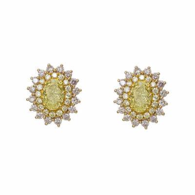 1 1/2 CT. T.W. Genuine Yellow Diamond 18K Gold Stud Earrings