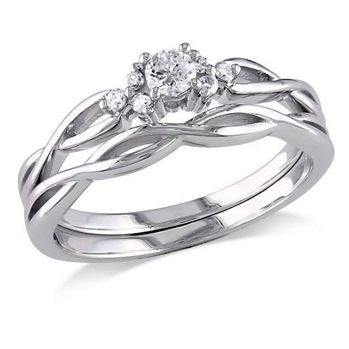 1/6 CT. T.W. White Diamond 10K Gold Bridal Set