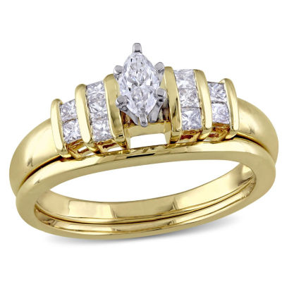 Womens 1/2 CT. T.W. Genuine White Diamond 14K Gold Bridal Set