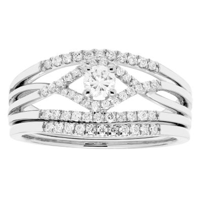 Certified Diamonds Womens 14K White Gold Bridal Set