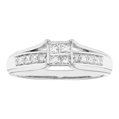 Womens 1/3 CT. T.W. Genuine Princess White Diamond 10K Gold Engagement Ring