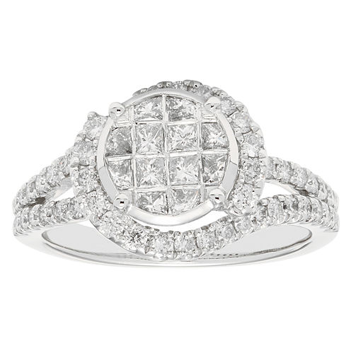 Womens 1 CT. T.W. Genuine Princess White Diamond 10K Gold Engagement Ring