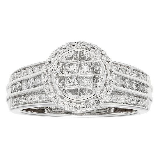 Womens 1 Ct Tw Genuine White Diamond 10k Gold Engagement Ring