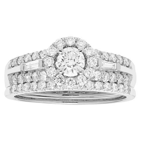 Certified Diamonds Womens 1 C.T.T.W 14K White Gold Bridal Set