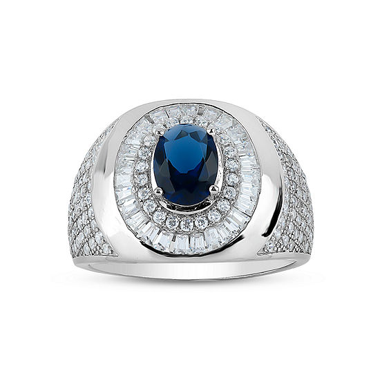 Mens Lab Created Blue Sapphire Sterling Silver Fashion Ring