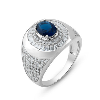 Mens Lab Created Blue Sapphire Sterling Silver