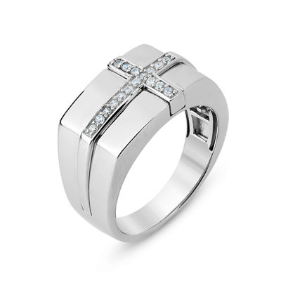 Mens Lab Created White Sapphire Sterling Silver Fashion Ring