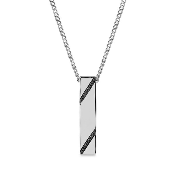 Mens 1/7 CT. T.W. Black Diamond Pendant Necklace