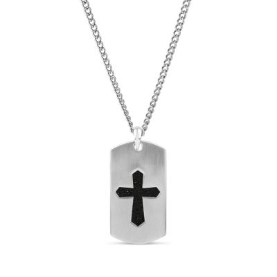 Mens Stainless Steel Dog Tag Pendant Necklace