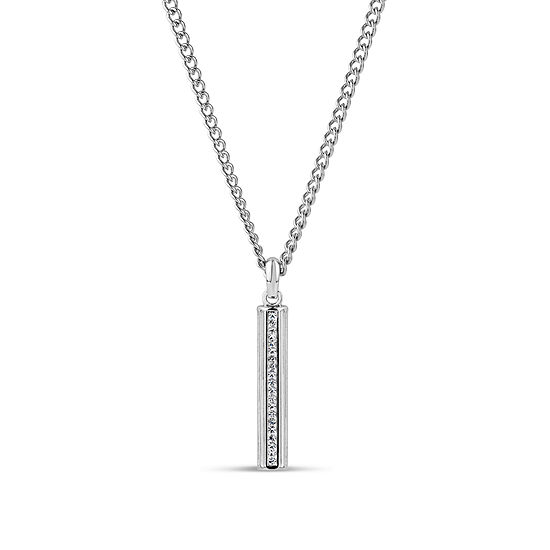 Mens White Crystal Stainless Steel Pendant Necklace