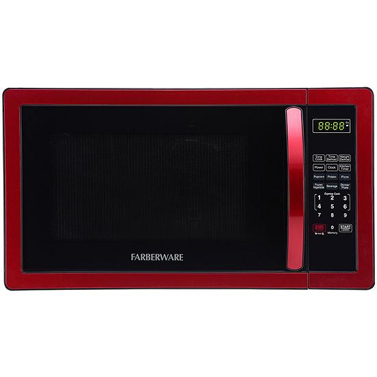 Farberware Classic FMO11AHTBKN 1.1 Cu. Ft 1000-Watt Microwave Oven, Metallic Red