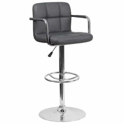 Contemporary Quilted Vinyl Adjustable Height Barstool with Arms and Chrome Base