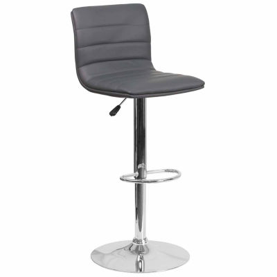 Contemporary Vinyl Adjustable Height Barstool withChrome Base