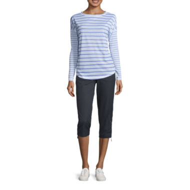 jcpenney.com | Made For Life Long Sleeve Stripe Tee or Woven Capris