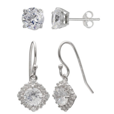 Silver Treasures 2 Pair Clear Round Earring Sets
