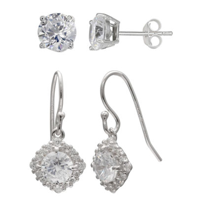 Silver Treasures 2 Pair Clear Round Earring Set
