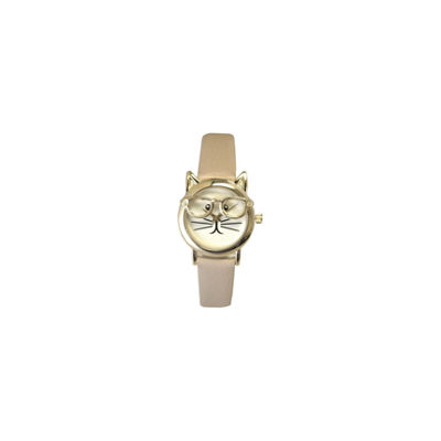 Olivia Pratt Cat Womens Brown Strap Watch-15097beigegold