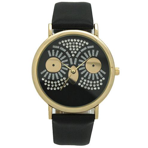 Olivia Pratt Owl Womens Black Strap Watch-15525black