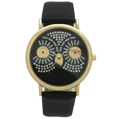 Olivia Pratt Owl Womens Black Strap Watch-15525black