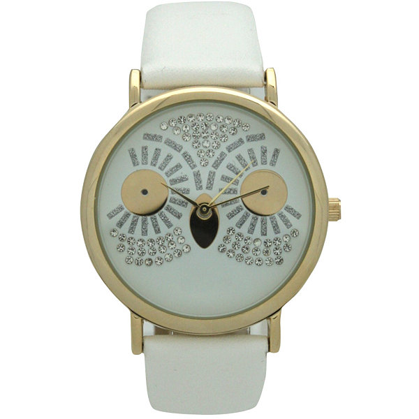 Olivia Pratt Owl Womens White Strap Watch-15525white