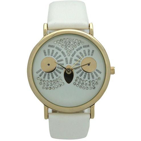 Olivia Pratt Owl Womens White Strap Watch-15525white