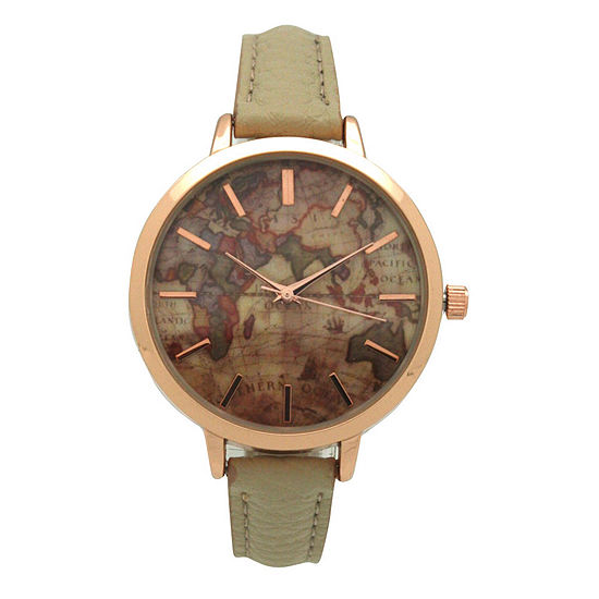 Olivia Pratt Southern Hemisphere Map Womens White Leather Strap Watch-A917470cream