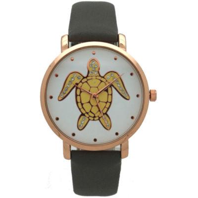 Olivia Pratt Pop Sea Turtle Womens Gray Strap Watch-A917404greyrose