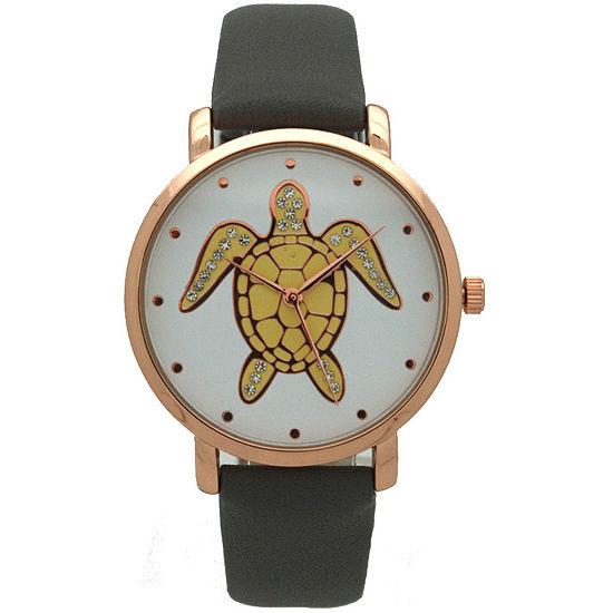 Olivia Pratt Pop Sea Turtle Womens Gray Leather Strap Watch-A917404greyrose