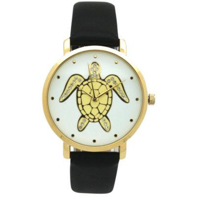 Olivia Pratt Pop Sea Turtle Womens Black Strap Watch-A917404black