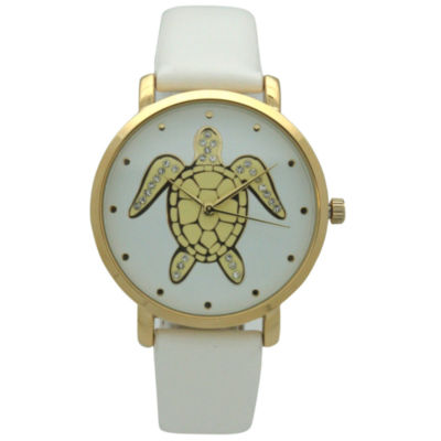 Olivia Pratt Pop Sea Turtle Womens White Strap Watch-A917404white