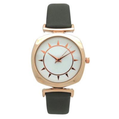 Olivia Pratt Womens Gray Strap Watch-A917384greyrose