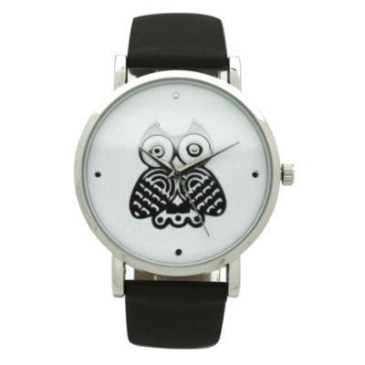 Olivia Pratt Owl Womens Black Strap Watch-A917349black