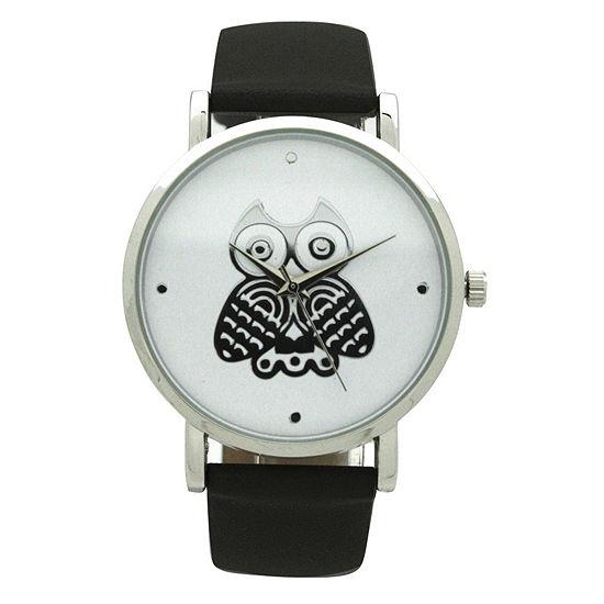 Olivia Pratt Owl Womens Black Leather Strap Watch-A917349black