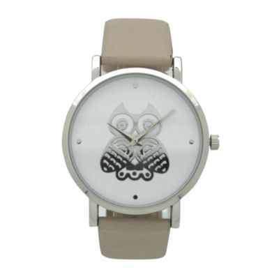 Olivia Pratt Owl Womens Brown Strap Watch-A917349taupe