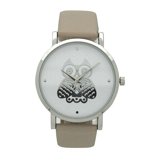 Olivia Pratt Owl Womens Brown Leather Strap Watch-A917349taupe