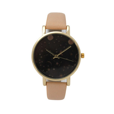 Olivia Pratt Womens Brown Strap Watch-17347beige