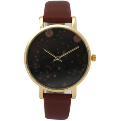Olivia Pratt Womens Brown Strap Watch-17347cognac