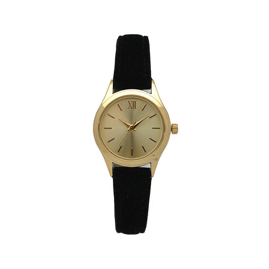 Olivia Pratt Velvet Womens Black Strap Watch-17439black
