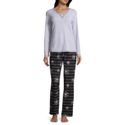 Sleep Chic Knit Top with Microfleece Bottom Pajama Set
