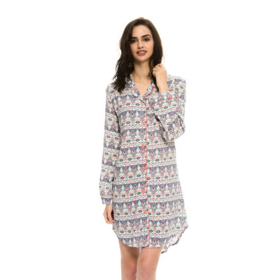 Harve Benard Rayon Boyfriend Buttoned Sleep Nightshirt